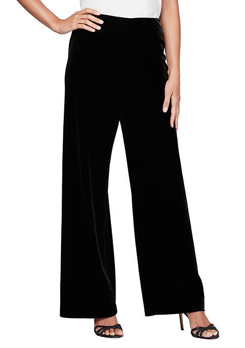 Flat Front Velvet Pants