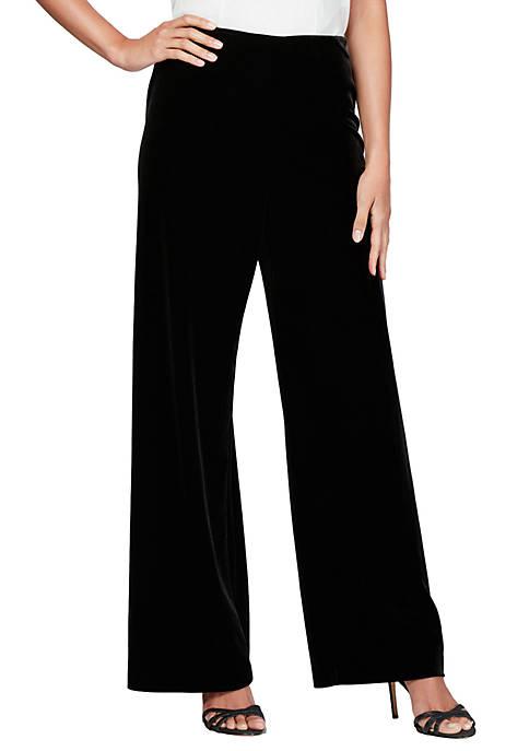Alex Evenings Womens Velvet Flat Front Pants