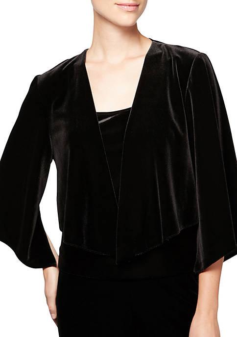 Alex Evenings Womens 3/4 Sleeve Ruffle Cascade Jacket