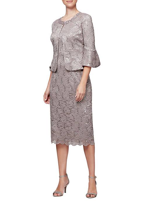Alex Evenings Tea Length Jacket Dress