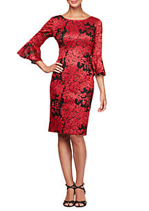 3/4 Sleeve Illusion Bell Sleeve Embroidered Shift Dress