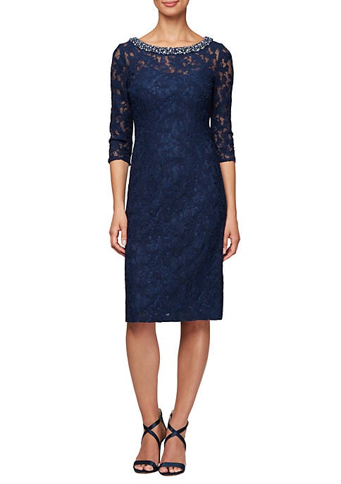 3/4 Sleeve Allover Lace Jewel Neck Dress