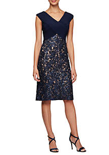 Alex Evenings Short Sheath Dress with Embroidered Skirt