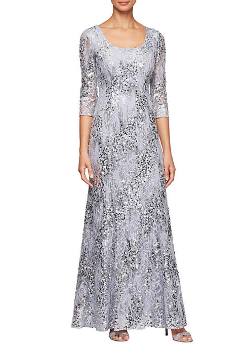 3/4 Sleeve Fit and Flare Sequin Gown