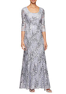442681f5d9b ... Alex Evenings 3 4 Sleeve Fit and Flare Sequin Gown