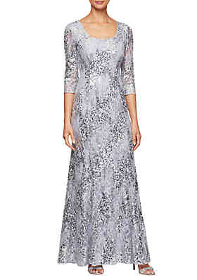 838ac497b Alex Evenings 3/4 Sleeve Fit and Flare Sequin Gown ...