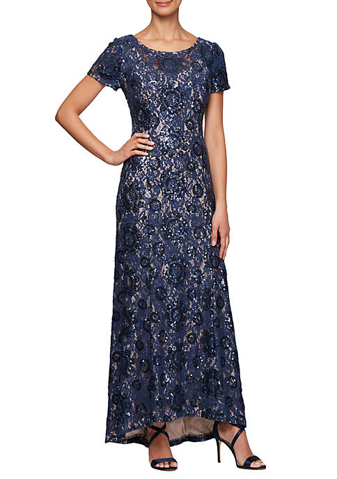 Short Sleeve Allover Sequin Lace Gown