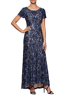 Alex Evenings Short Sleeve Allover Sequin Lace Gown