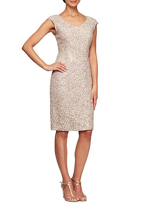 Cap Sleeve Short Sequin Dress