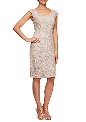 48cc77a05364 Alex Evenings Cap Sleeve Short Sequin Dress ...