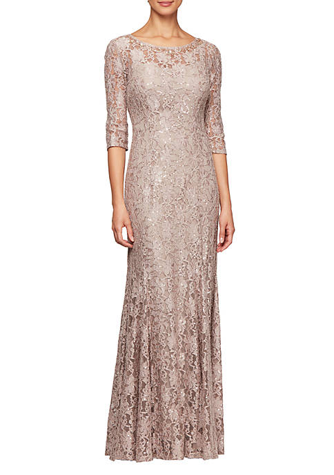Alex Evenings Long Fit and Flare Sequin Lace