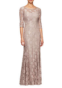 Alex Evenings Long Fit and Flare Sequin Lace Gown