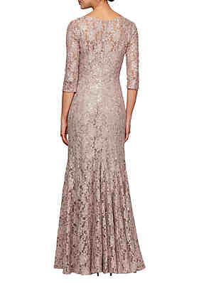 33ca4451 ... Alex Evenings Long Fit and Flare Sequin Lace Gown