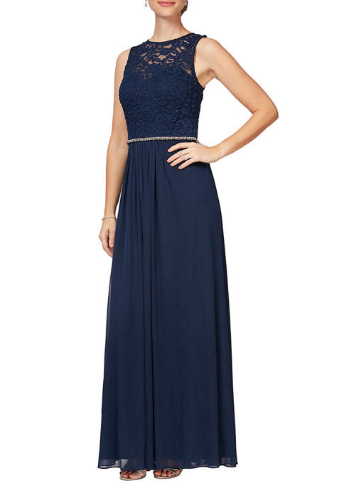 Womens Long Sleeve A-Line Gown