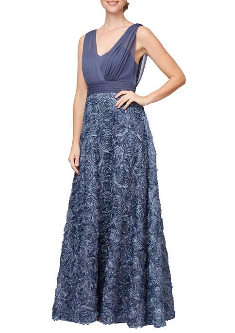 Alex Evenings Womens Long Sleeveless A-Line Gown