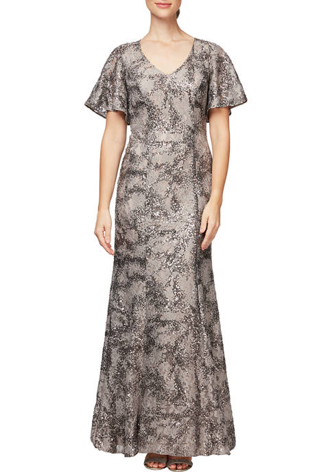 Alex Evenings Womens Long Fit-and-Flare Gown