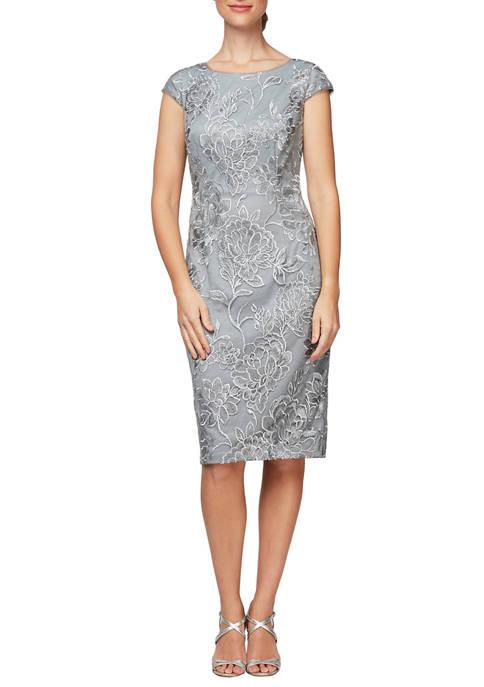 Alex Evenings Womens Short Cap Sleeve Dress