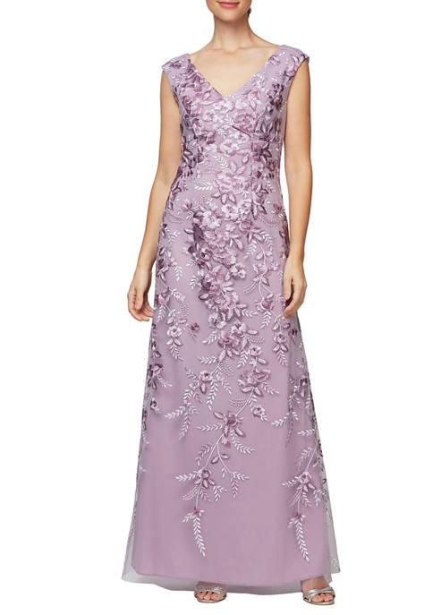 Alex Evenings Womens Long Embroidered Sleeveless Dress