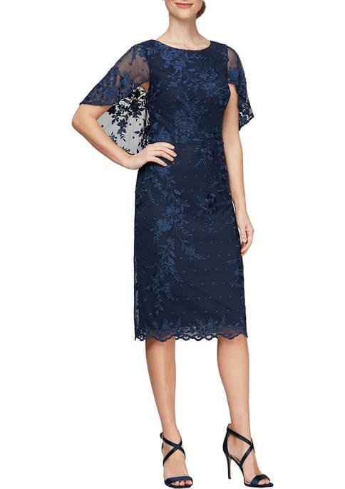 Alex Evenings Womens Embroidered Sheath Dress