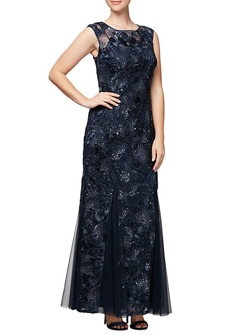 Alex Evenings Long Fit-and-Flare Soutache Gown