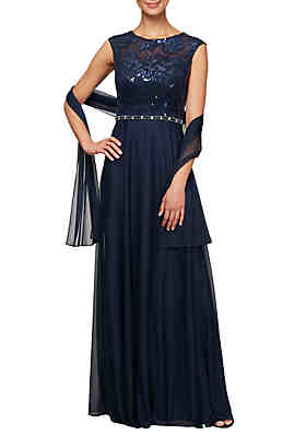 Alex Evenings Long A Line Sequin Bodice Dress with Shawl ... 67293723e304