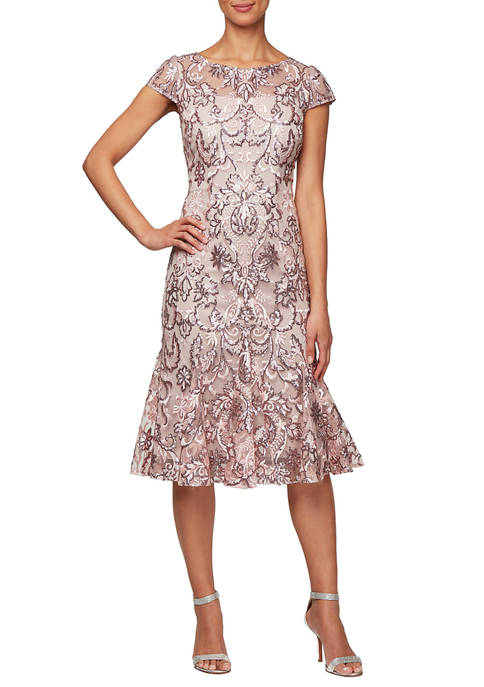 Alex Evenings Womens Mid Length Dress