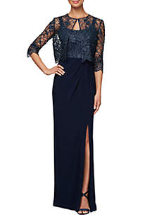 06d41b8e46e ... Alex Evenings Long Embroidered Jacket Gown