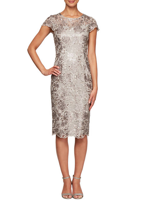 Alex Evenings Womens Cap Sleeve Embroidered Scallop Sequin