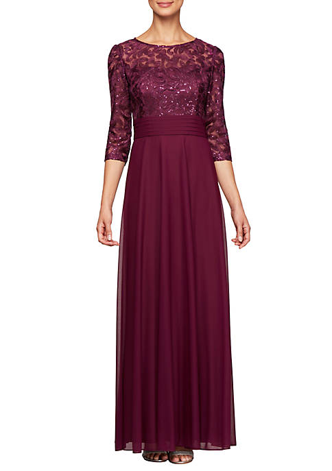 Long A Line Dress with Embroidered Bodice