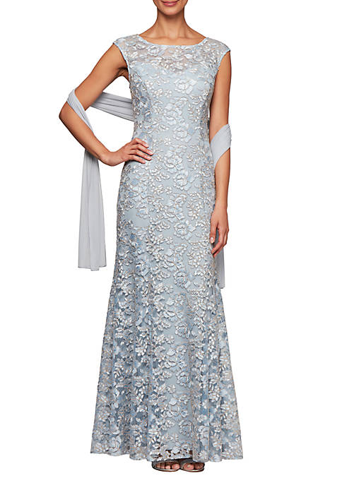 Fit and Flare Mesh Gown with Scarf