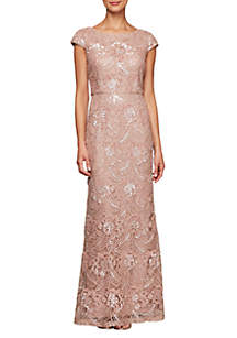 Alex Evenings Long Embroidered Gown with Cap Sleeve and Sequin Detail