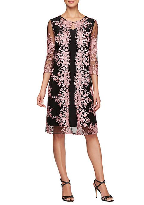3/4 Sleeve Embroidered Mock Jacket Dress