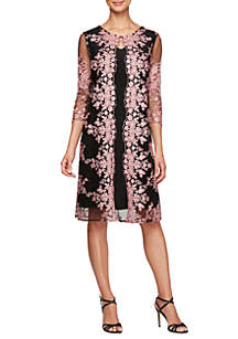 Alex Evenings 3/4 Sleeve Embroidered Mock Jacket Dress