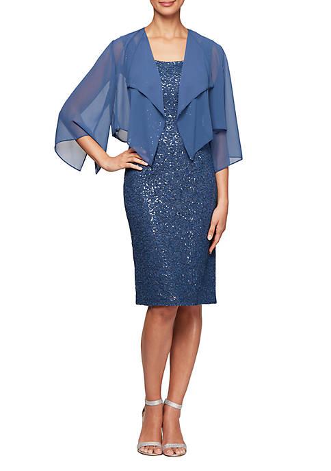 3/4 Sleeve Corded Jacket Dress
