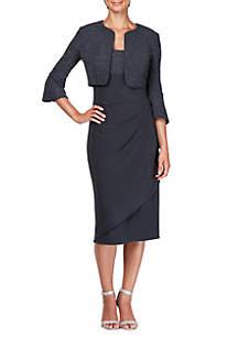 Midi Bolero Overlay Jacket Dress