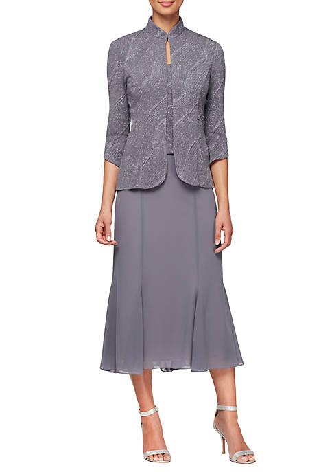 3/4 Sleeve High Neck Jacket Dress Set