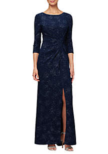 0bb95aa125f6 ... Alex Evenings 3/4 Sleeve Knot Front Gown