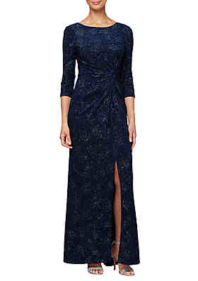 4d8967f62cf1 Alex Evenings 3 4 Sleeve Knot Front Gown ...