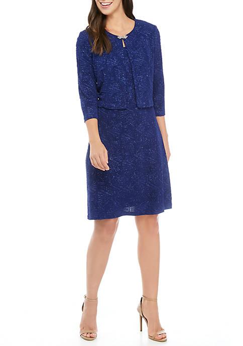 Womens 2 Piece 3/4 Sleeve Short Jacket Dress with Embellishments