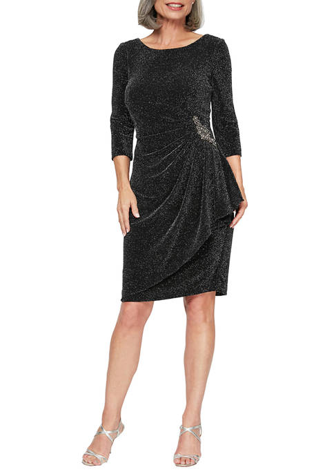 Alex Evenings Womens 3/4 Sleeve Beaded Hip Gown