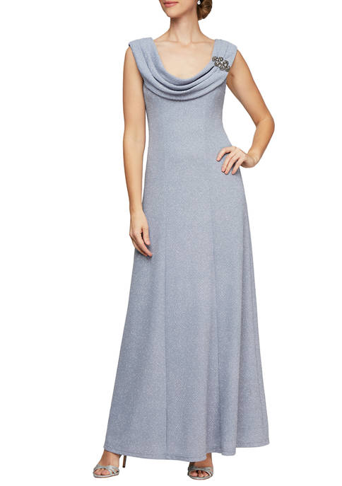 Alex Evenings Womens Long Fit and Flare Dress