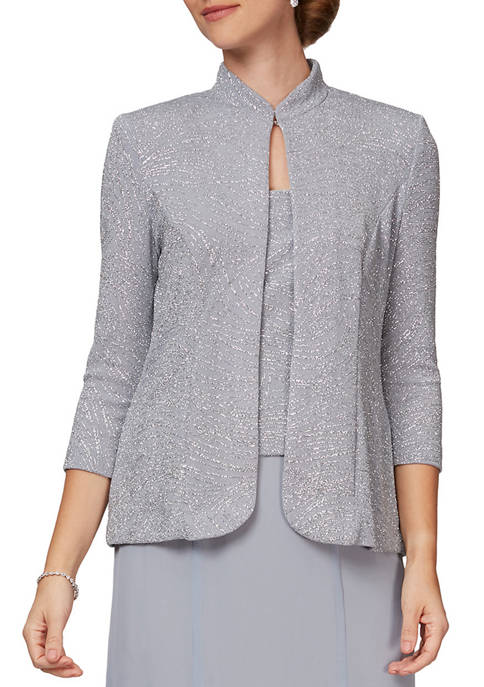Alex Evenings Womens T Length Jacket Dress