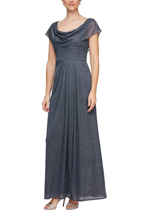 Alex Evenings Womens Long Glitter A-Line Dress