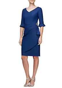 Sheath V-neck Elbow Sleeve Dress