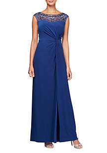 Cap Sleeve A-Line Knot Front Gown