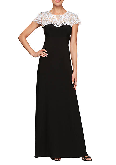 Long Fit and Flare Dress with Embroidered Heat Set Illusion Neckline