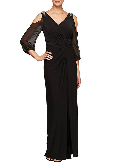 Long V Neck Knot Front Dress with Illusion Cold Shoulder Sleeves