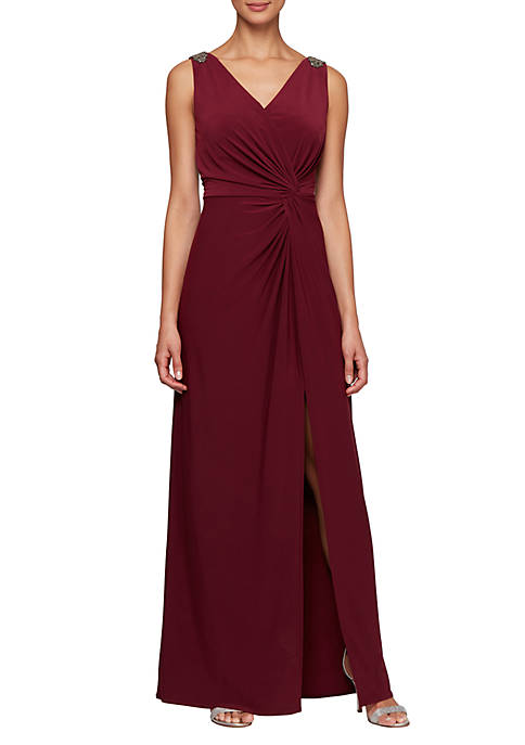 Long Sleeveless Knot Front Dress with Beaded Shoulder Detail and Front Slit