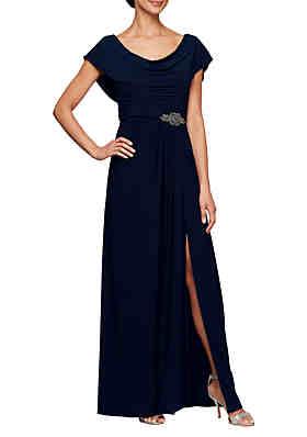 fd45923806 Alex Evenings Long Cowl Neck A Line Dress ...