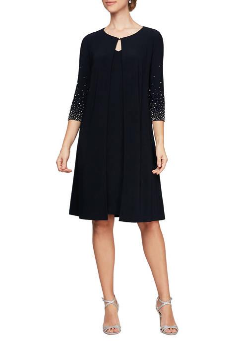 Alex Evenings Womens Mock Jacket Dress
